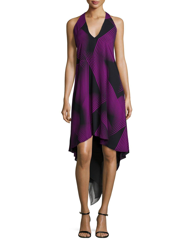 Halter-Neck High-Low Cocktail Dress, Black/Purple - Halston Heritage ...