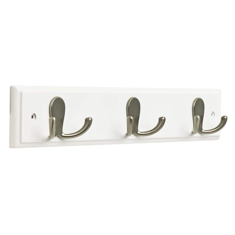 franklin brass fbdprh3r 3 hook wall mounted wooden coat rack white satin nickel