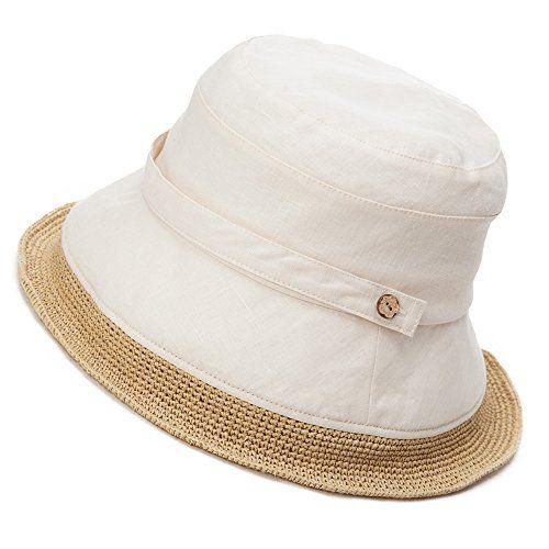 bbb7c5e8 Siggi Womens Summer Bucket Boonie UPF 50+ Wide Brim Linen Sun Hat ...
