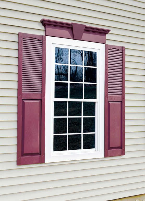 Decorative Operative Combination Louvered Raised Panel Composite Wineberry  · Exterior Vinyl ShuttersHouse ...