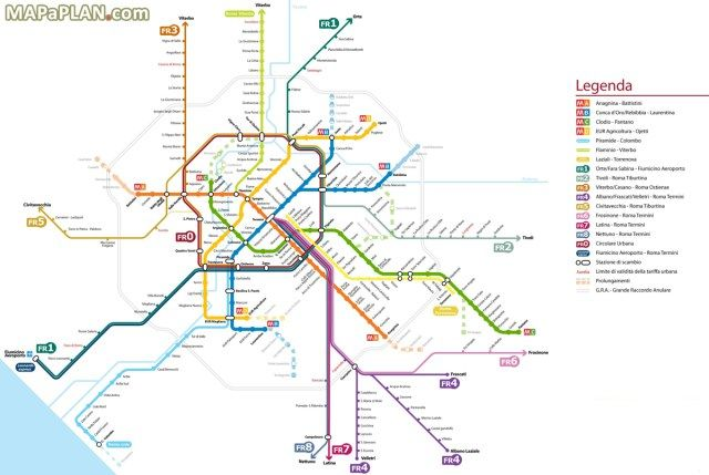 Rome Metro Map With Attractions.Rome Transportation Rome Rome Rome Italy Italy