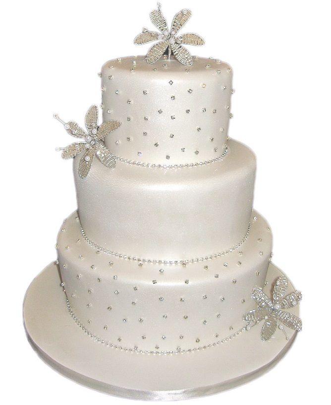 Luxury Wedding Cake Tips 3 Tier Pearlised White Diamante Flower