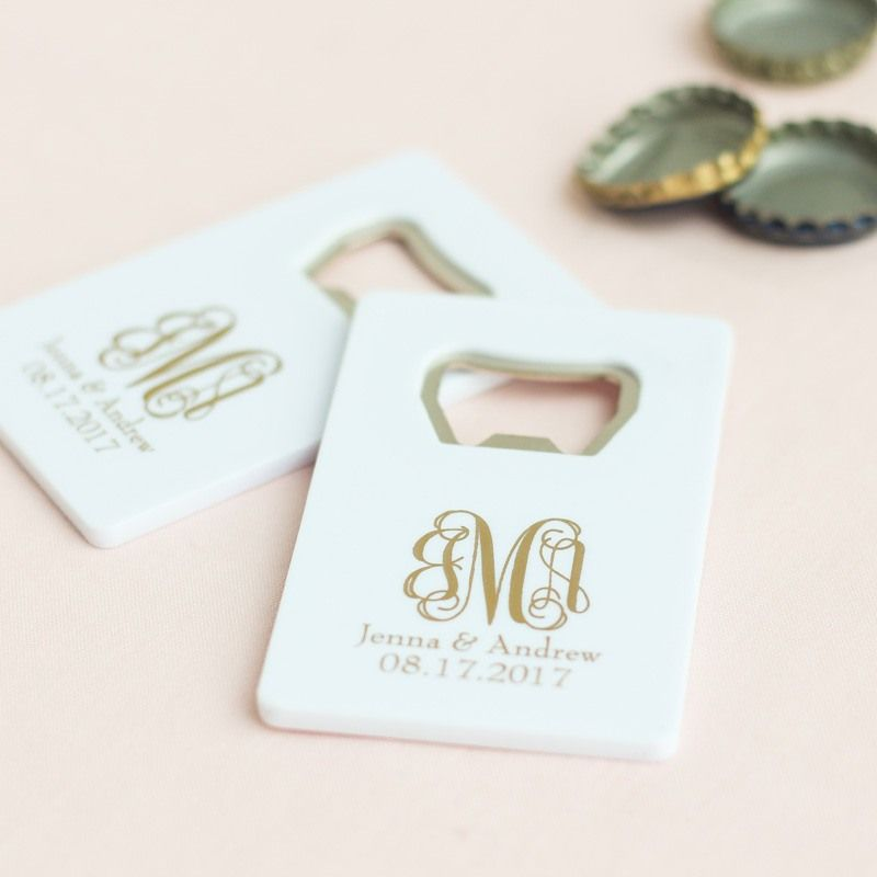 Invite Wedding Guests To Pop Bottles Wherever They Go By Gifting Them These Sleek Personalized Credit Card Bottle Openers