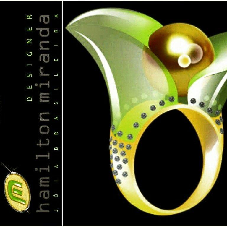 Anel Juá / prêmio IBGM - 2013 / Ouro amarelo, pérola dourada, green gold, diamantes.