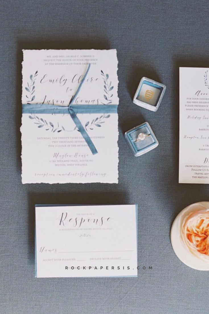 Gorgeous deckled wedding invitation with luxurious silk ribbon ...