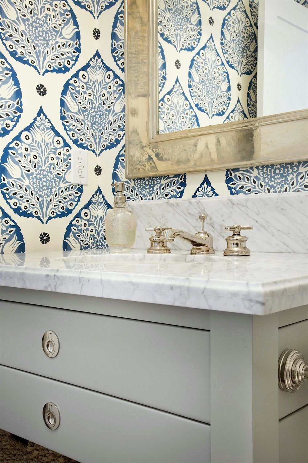 Erin Hedrick design beautiful bathroom chic medicine