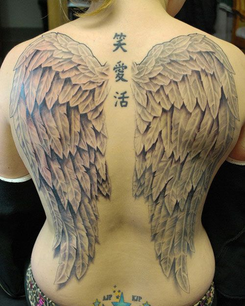 Angel Wings Tattoo ... I\'d want them narrower, but longer, and in ...