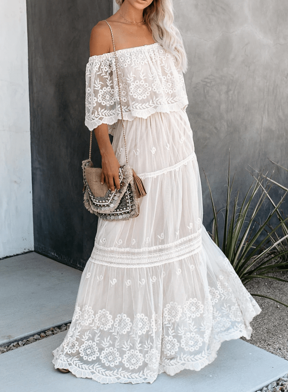 Off The Shoulder Lace Maxi Dress Lovetocute White Lace Maxi Dress White Lace Maxi Maxi Dress [ 1364 x 1000 Pixel ]
