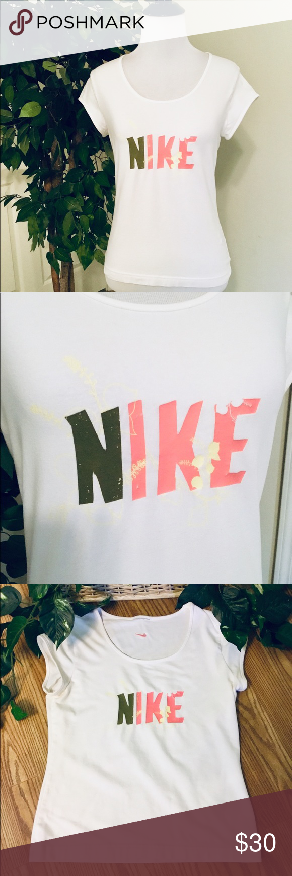 NIKE White TShirt Gray, Orange & Yellow Logo M White