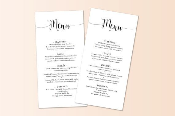 Printable Script Menu Template  Diy Wedding Menu  Instant Download