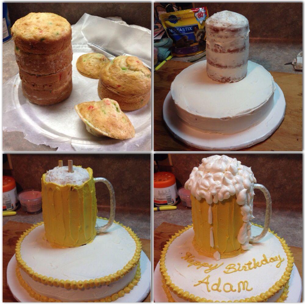 Beer mug cake (birthday recipes 21st) | birthday dinner party ideas ...