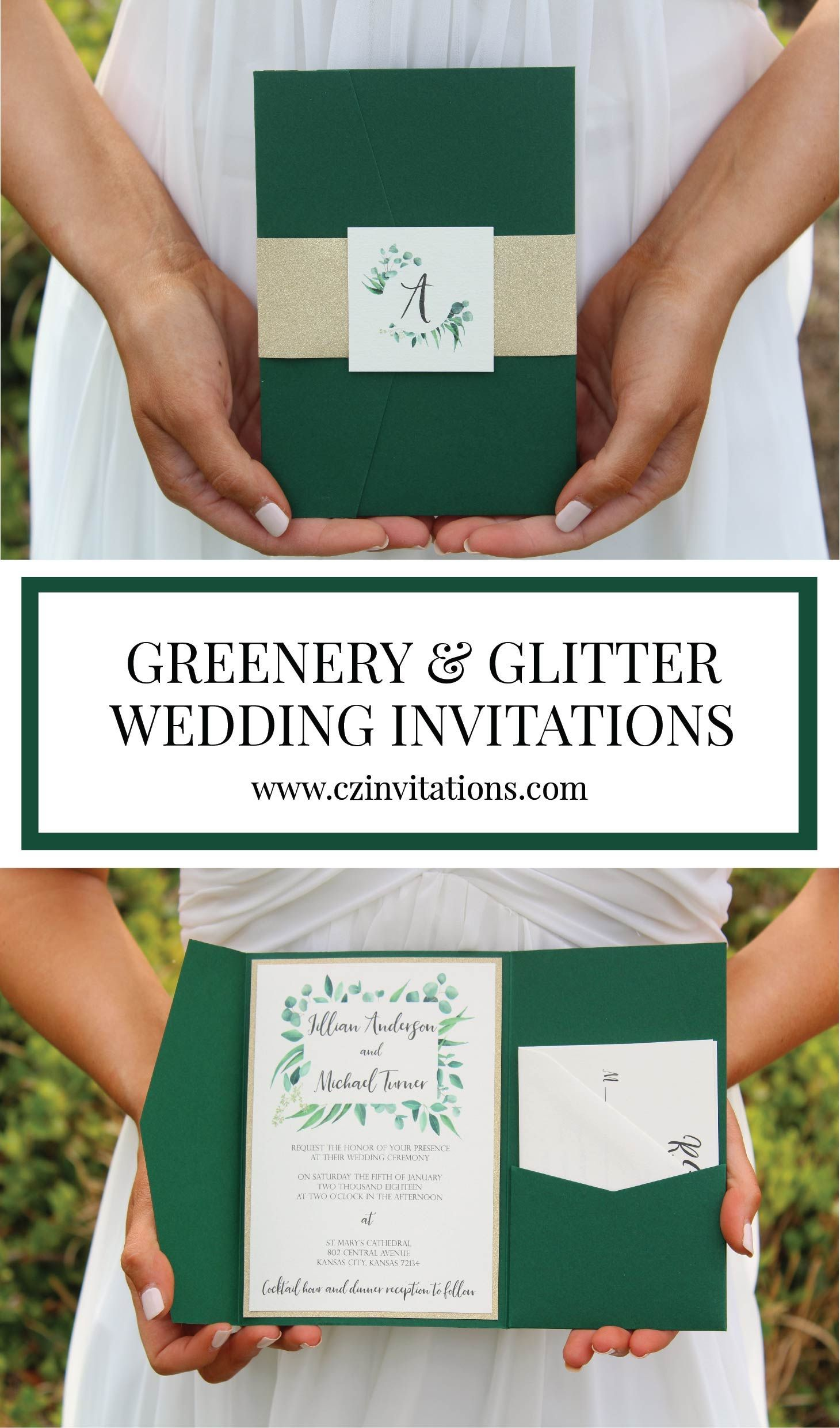 Eucalyptus forest green and gold glitter wedding invitation