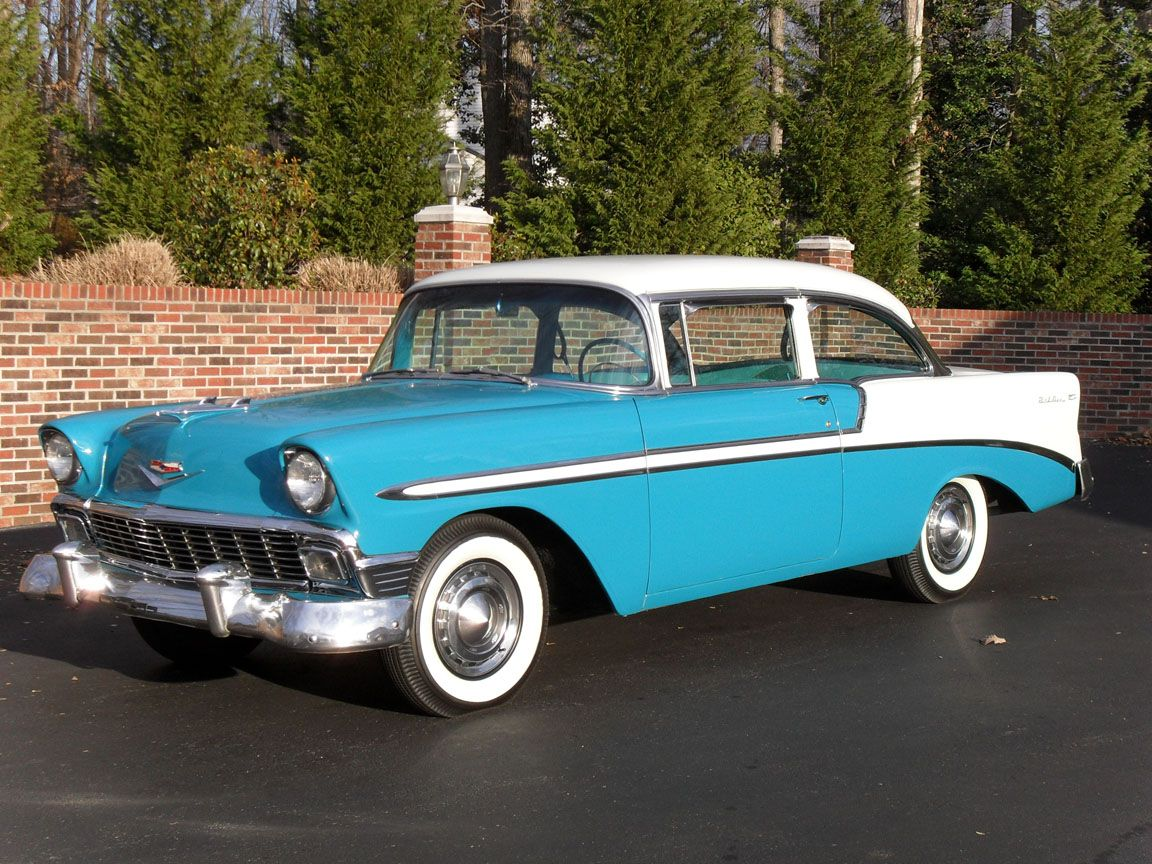 Cousin Martha\'s car ~ 1956 Chevy Bel Air in turquoise white. She ...