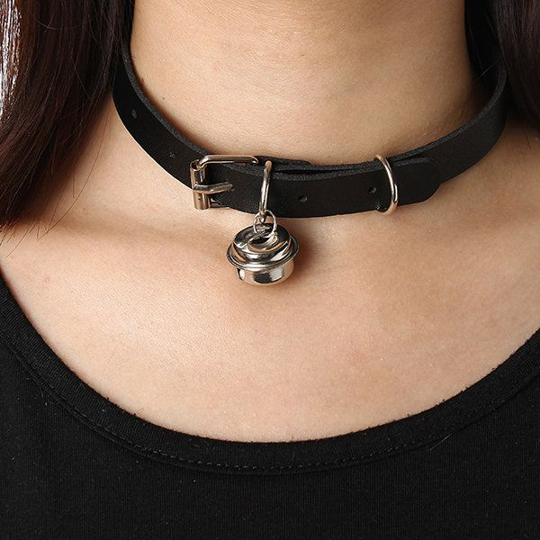 adbc84e032ff9 Punk Rock Necklace Leather Bell Pendant Choker Collar Necklace ...