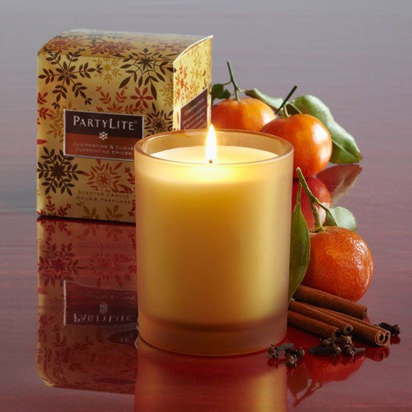 """Item of the Day!  Clementine & Clove Gift Candle.  Today's Price $8.00.  orig. price 22.00$.  While Supplies Last.  Makes the perfect present! Classic glass jar is filled with highly scented wax in our Clementine & Clove fragrance, a heartwarming blend of fresh oranges and spice. Decorative gift box is ready for giving. Burn time 45-55 hours. 4"""" h, 3 1/4"""" w.  http://www.partylite.biz/sites/judekelly/productcatalog?page=productdetail=G21399=55268=true"""