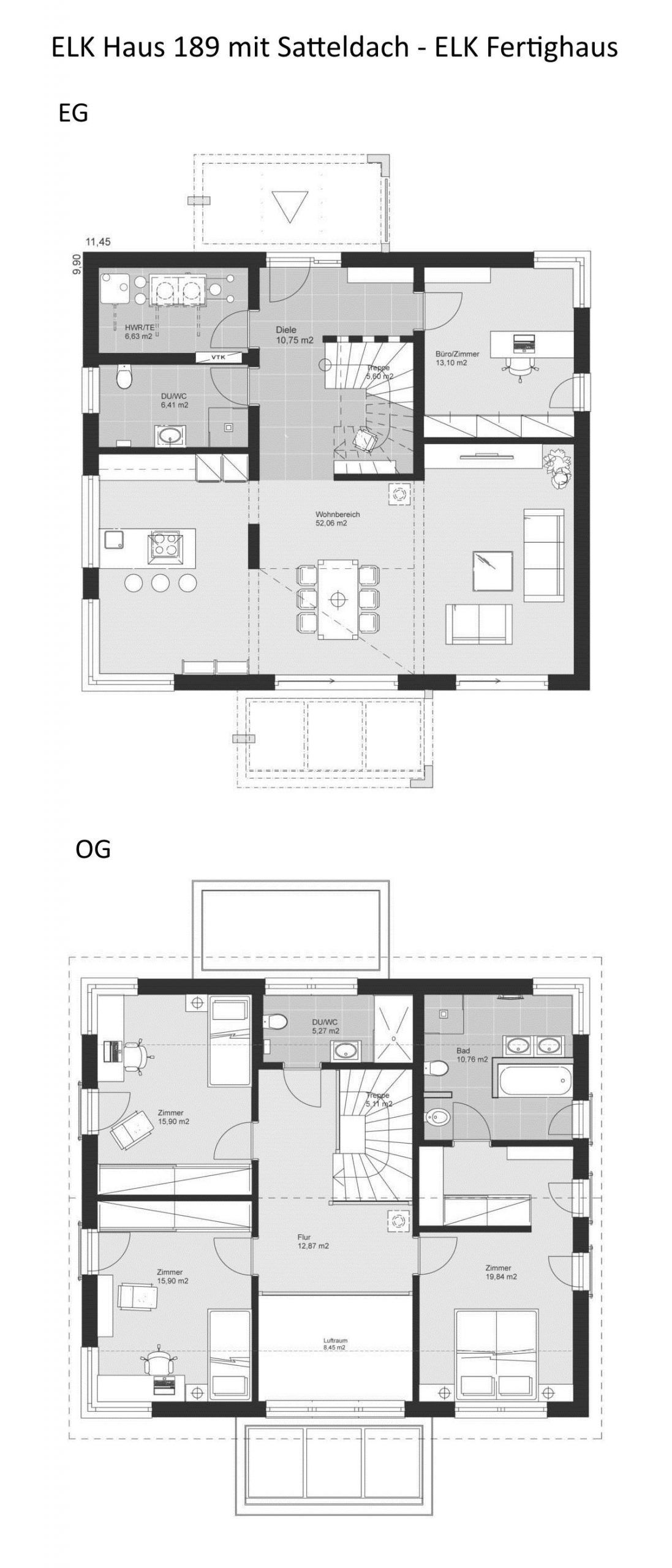 Einfamilienhaus Elk Haus 189 Mit Galerie Elk Fertighaus Hausbaudirekt Einfamilienhaus Elk Fertighaus Galerie In 2020 Roof Architecture Floor Plans Prefab Homes