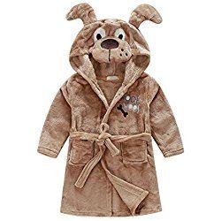 cb4ccf512 Little Girl s Brown Dog Fleece Bathrobe Unisex Kids Robe Pajamas ...