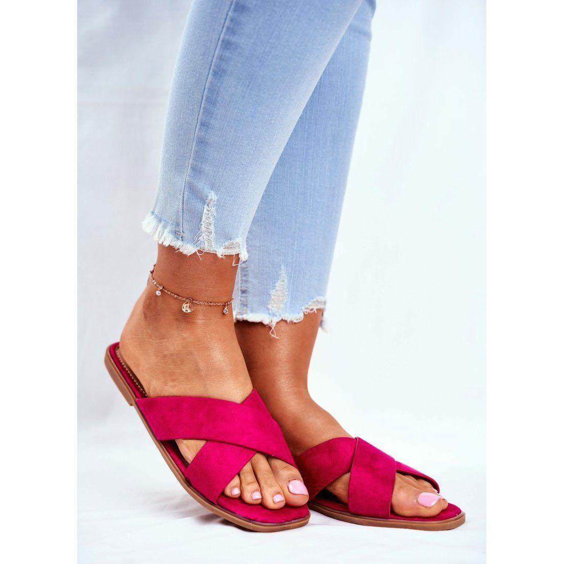 Klapki Damskie Paski Na Krzyz Fuksja Philippines Rozowe Heels Shoes Heeled Mules