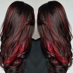 Image Result For Bright Hair Color Brunette Underneath Peekaboo Hair Hair Streaks Peekaboo Hair Colors