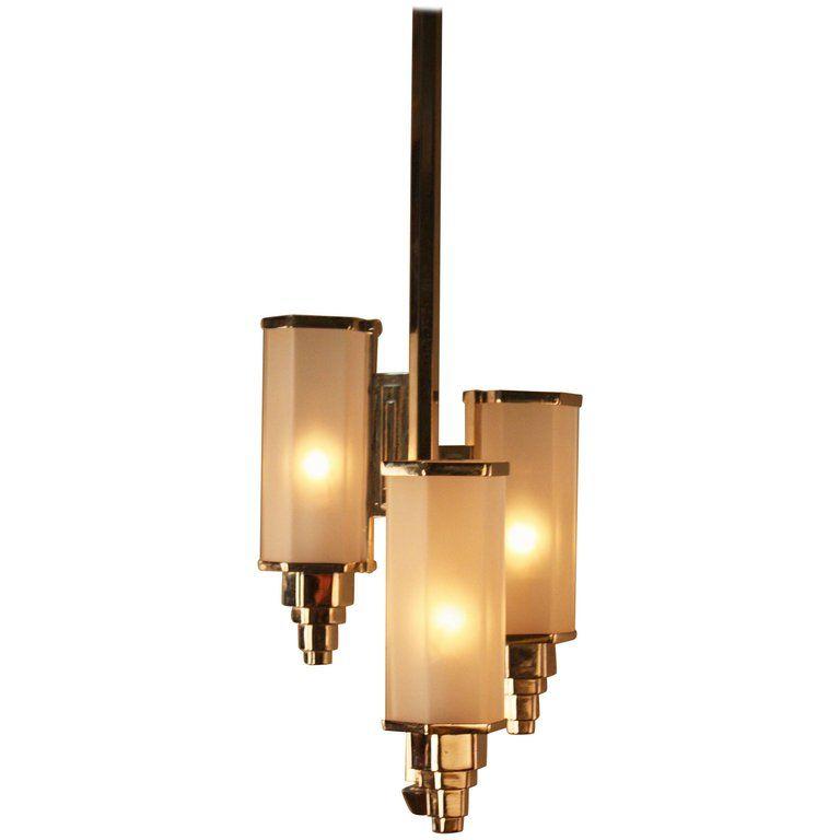 1stdibs Gl Nickel Art Deco French Chandelier Pendant
