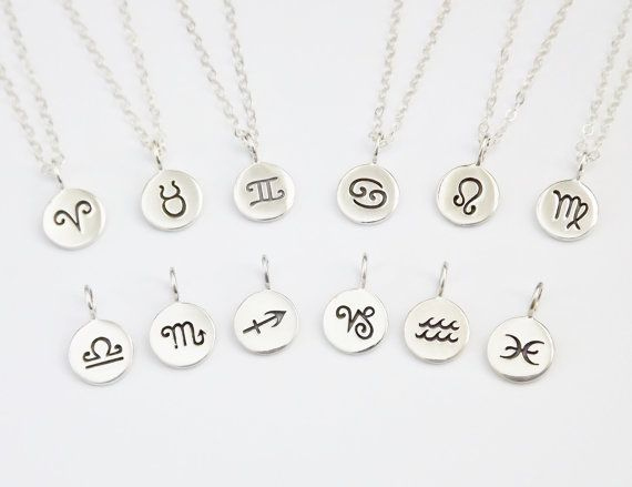 048f3e229 Zodiac Disc Necklace - Sterling Silver Personalized Jewelry - Astrology  Signs on Etsy, $29.00
