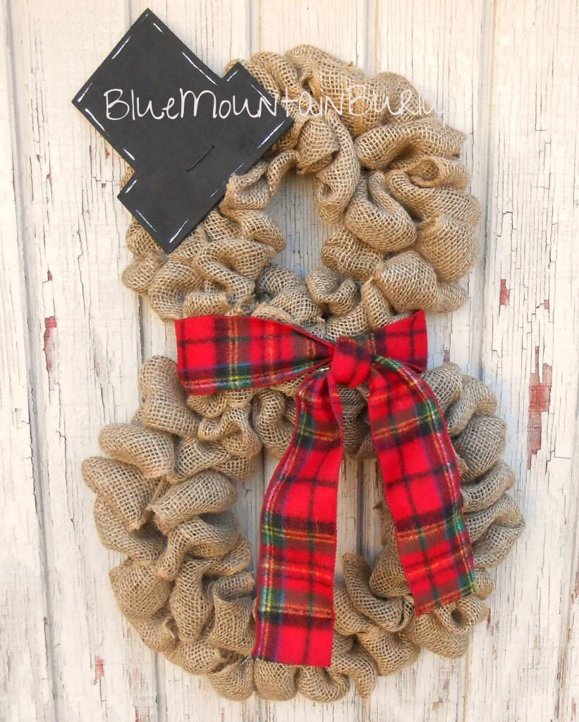 Burlap snowman wreath christmas wreath front door wreath for Burlap wreath with lights