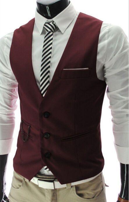Men S Business Jacket Vest Slim Waistcoat Casual