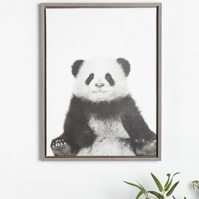 Kate and Laurel 'Sylvie Sitting Panda Black and White Portrait' Framed Photographic Print on Canvas Frame Color: