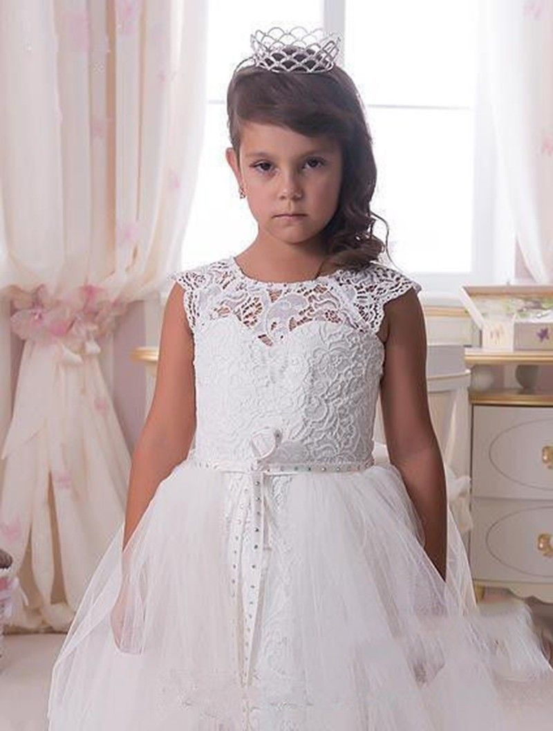 White Lace Flower Girl Dress Crystals Party Christmas Kids Toddler
