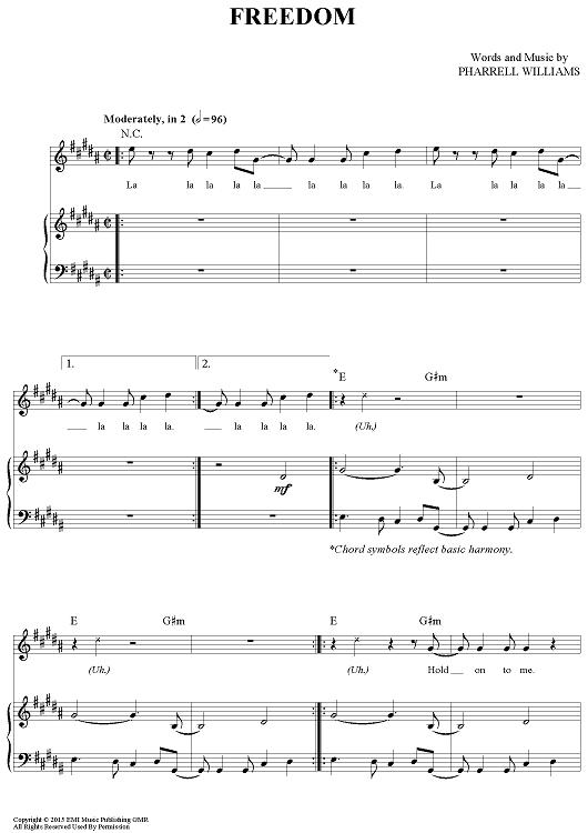 Freedom Sheet Music by Pharrell Williams | Pharrell williams, Sheet ...