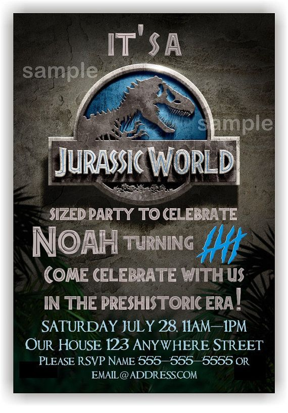 Jurassic World Birthday Invitation by BenAnnaInvites on Etsy