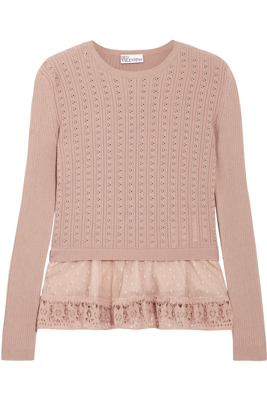Shop on-sale REDValentino Point d'esprit-trimmed ribbed pointelle ...