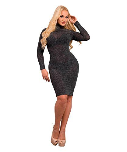 500f99137bbaf Lusty Chic Womens Silver Glitter Bodycon Roll Neck Long Sleeved Midi Dress  (L (UK