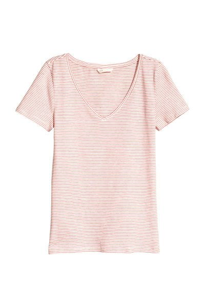 cba52052f5 V-neck Jersey Top   White/red striped   WOMEN   H&M US   clothes ...