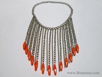 Collar de bisuteria naranja neon