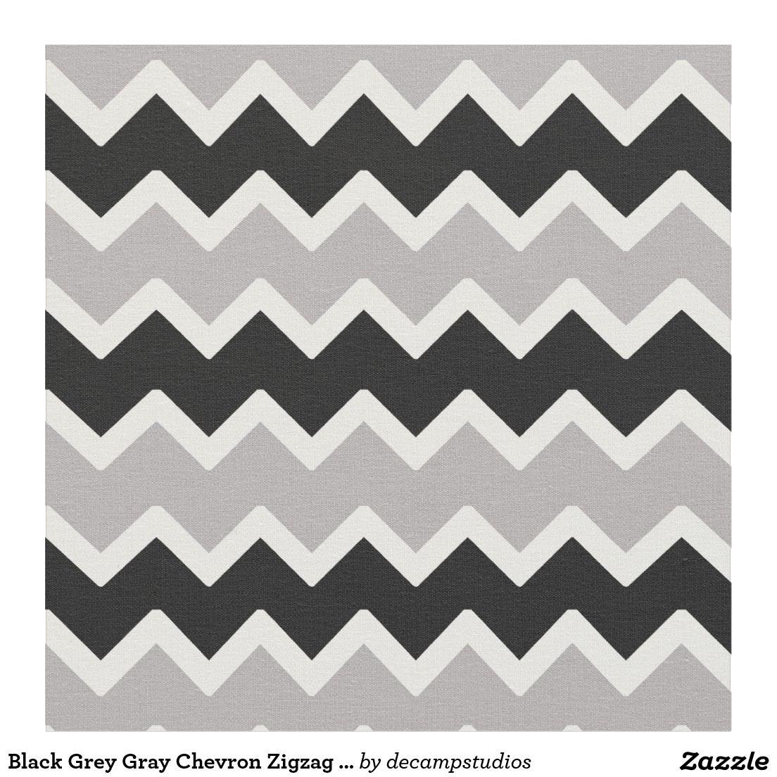 Black Grey Gray Chevron Zigzag Pattern Fabric   Chevron Room Decor ...