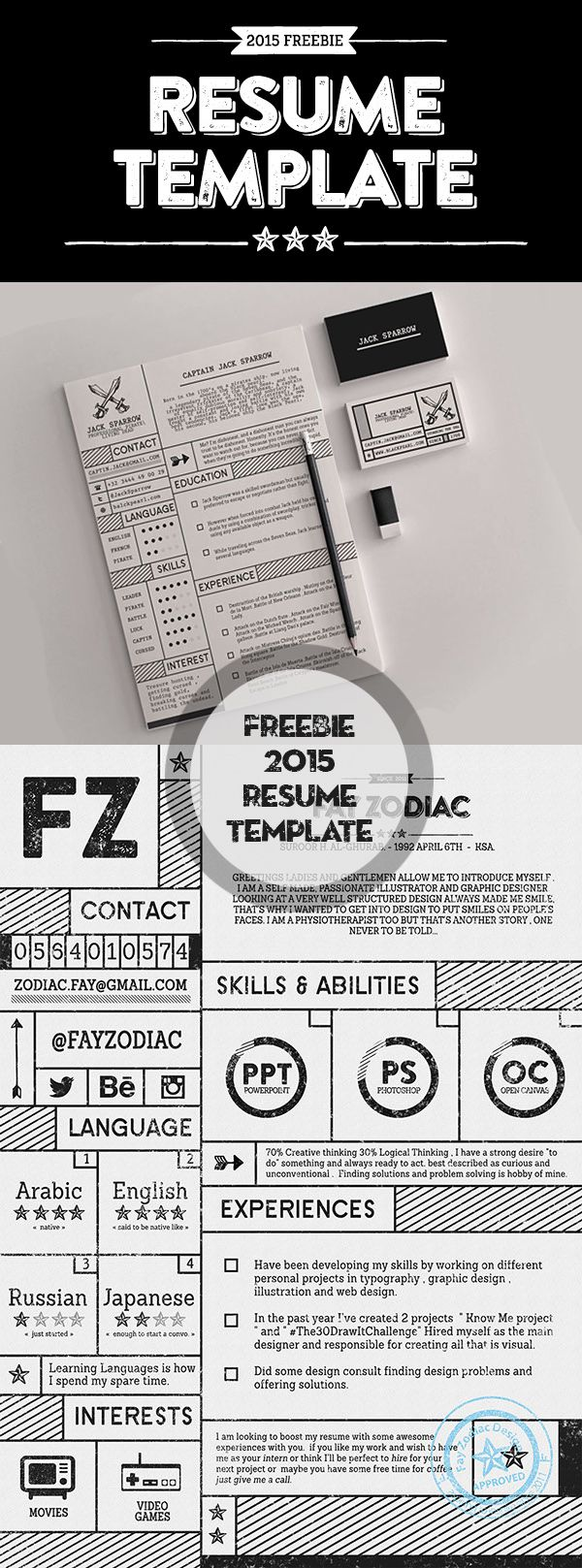 Free Vintage Resume PSD Template http://graphicdesignjunction.com ...