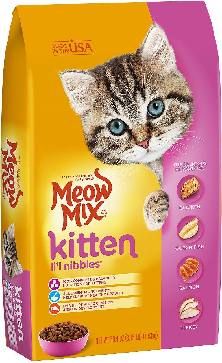Meow Mix Kitten Li L Nibbles Dry Cat Food 3 15 Lb Bag Chewy Com Kitten Food Dry Cat Food Cat Food
