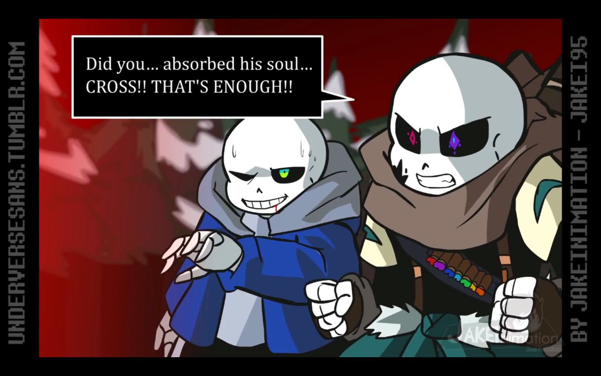 Picture belong to JakeiAnimation Cross!Sans x Daughter