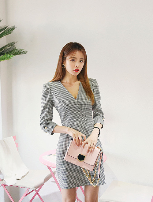 a4b92ff951 [DABAGIRL] HOUNDSTOOTH-PATTERNED SURPLICE NECK DRESS Korean Outfits,  Houndstooth, Latest Fashion