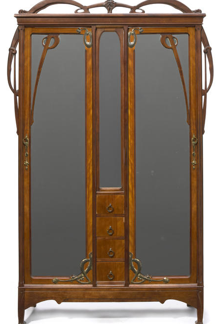 l on b nouville 1860 1903 armoire carved walnut with brass hardware france circa 1900 94. Black Bedroom Furniture Sets. Home Design Ideas