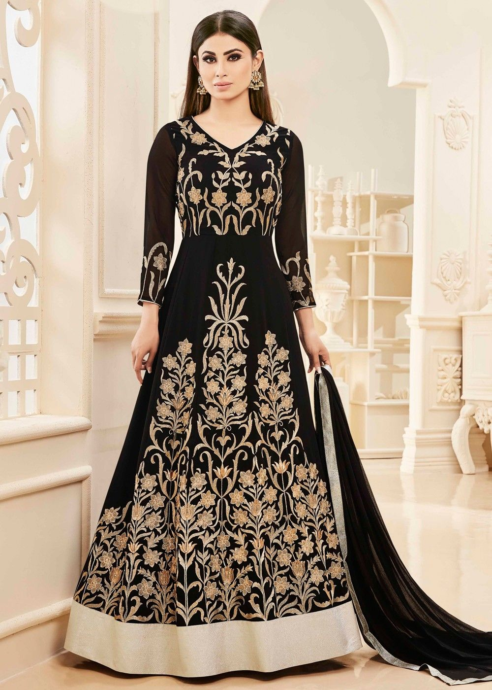 822b71ce564a #Abaya style #kalidar #black #georgette #suit in #golden floral #resham  #embroidery paired with #black #santoon bottom.