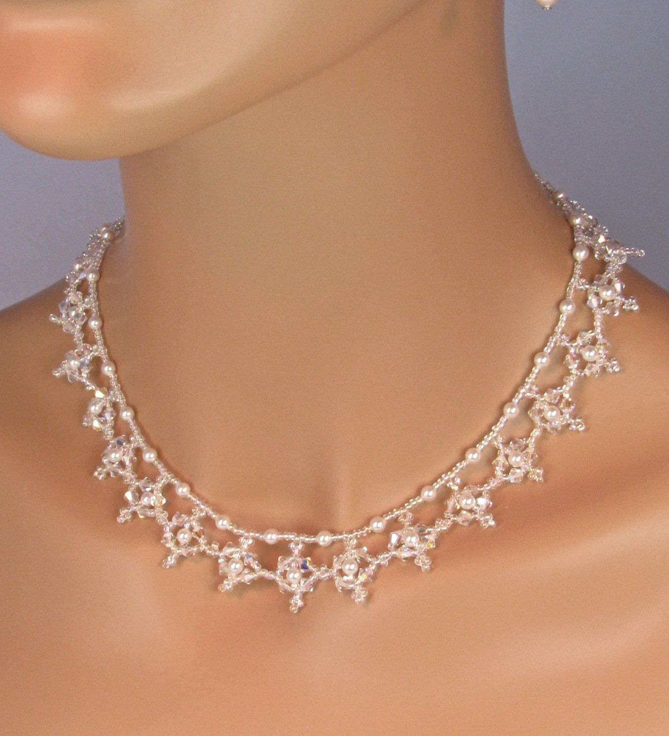 Winter Wedding Jewelry Set Snowflake Necklace Winter Wedding Jewelry