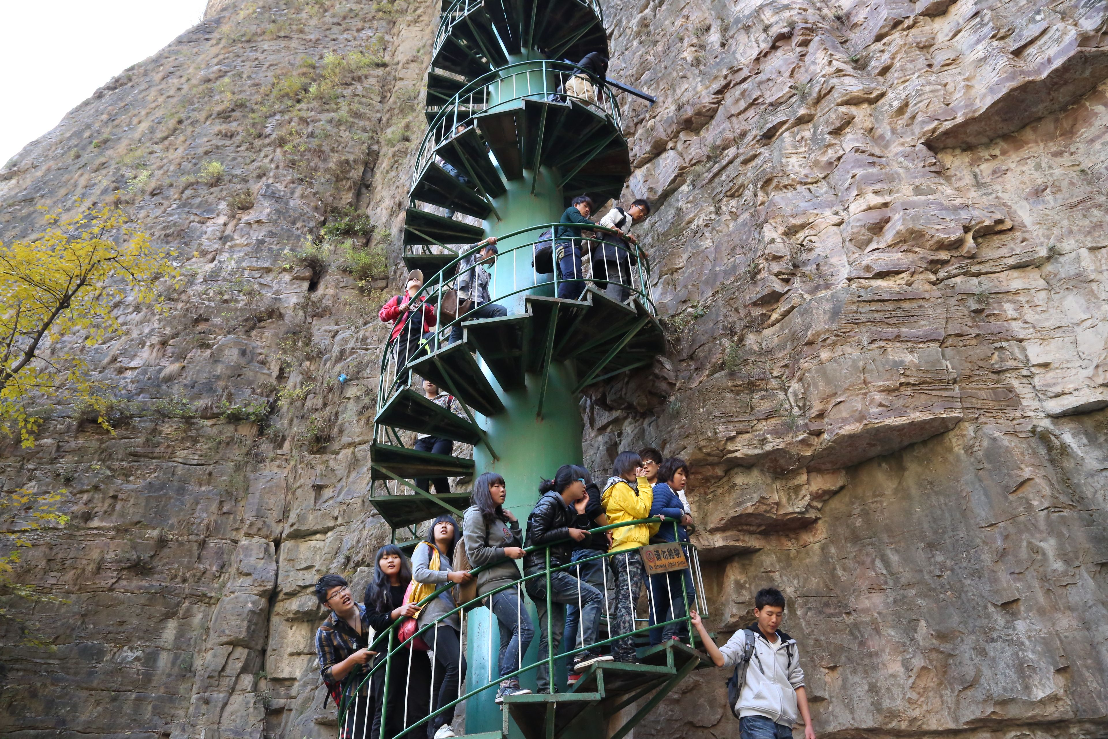 MT TAIHANG, CHINA If you want all thrills of mountaineering without trekking a mountain, visit Linzhou in China. The 300ft tall spiral staircase installed on a wall of Mt Taihang is for those who seek adrenaline rush. Only those under 60 are allowed to climb these stairs.