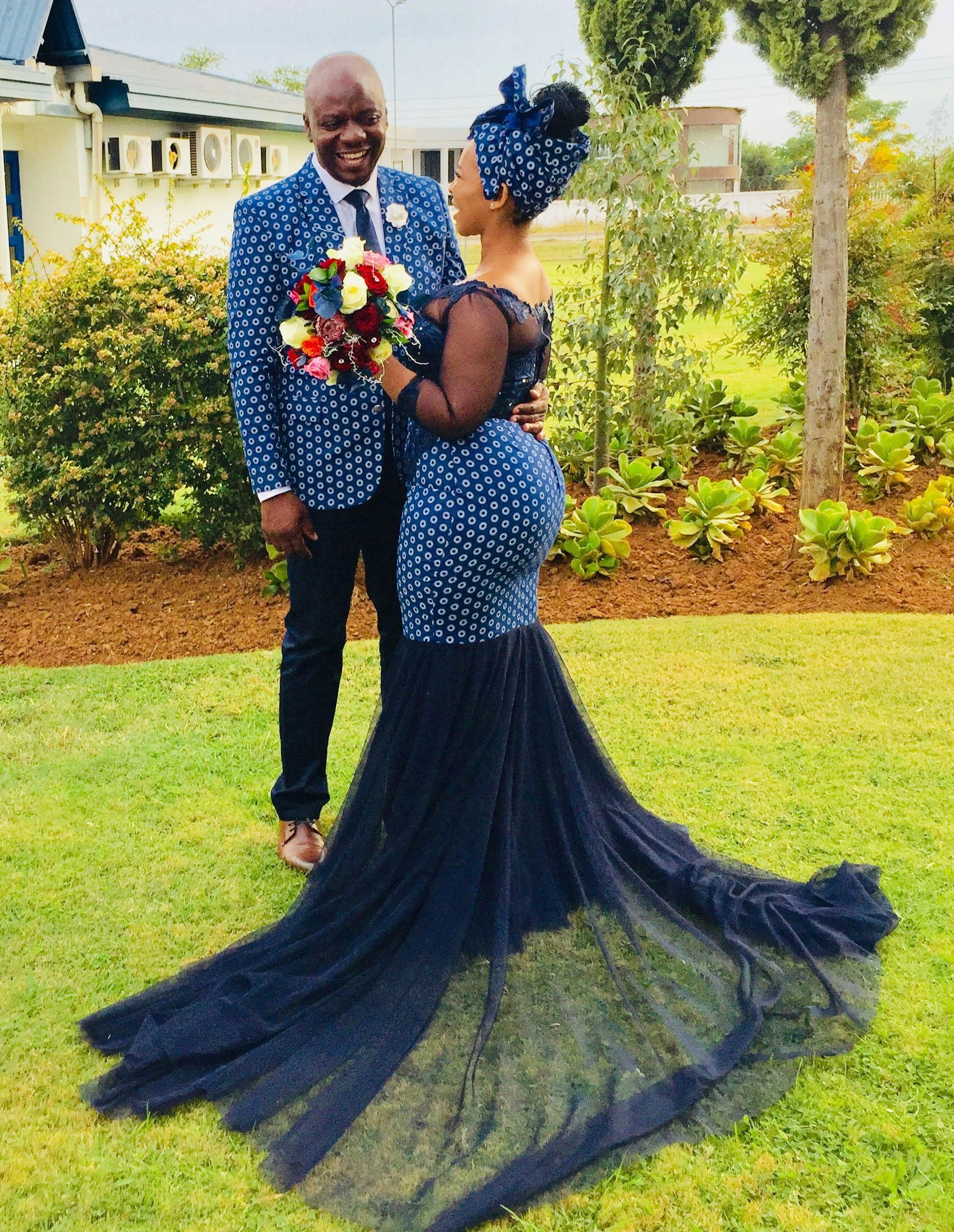 African Shweshwe Wedding Dress With Mesh And Embroidered Lace