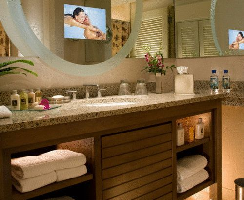 The Tv In The Bathroom Mirror Of Peabody Hotel Orlando Where I