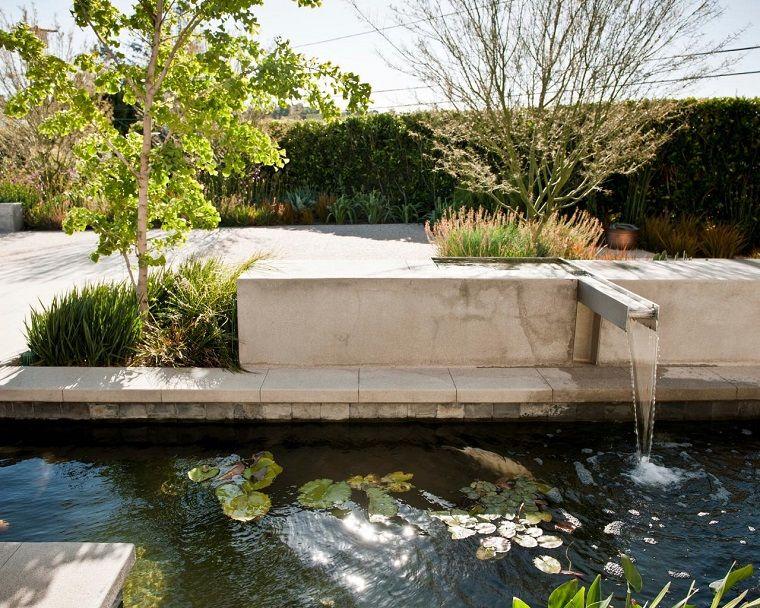 Peces de agua dulce koi para criar en el jardín moderno Pez koi