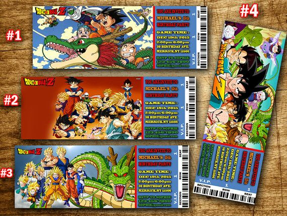 Printable Dragonball Birthday Party Ticket By SportfunDigital Dragon Ball Z Tickets Invitations