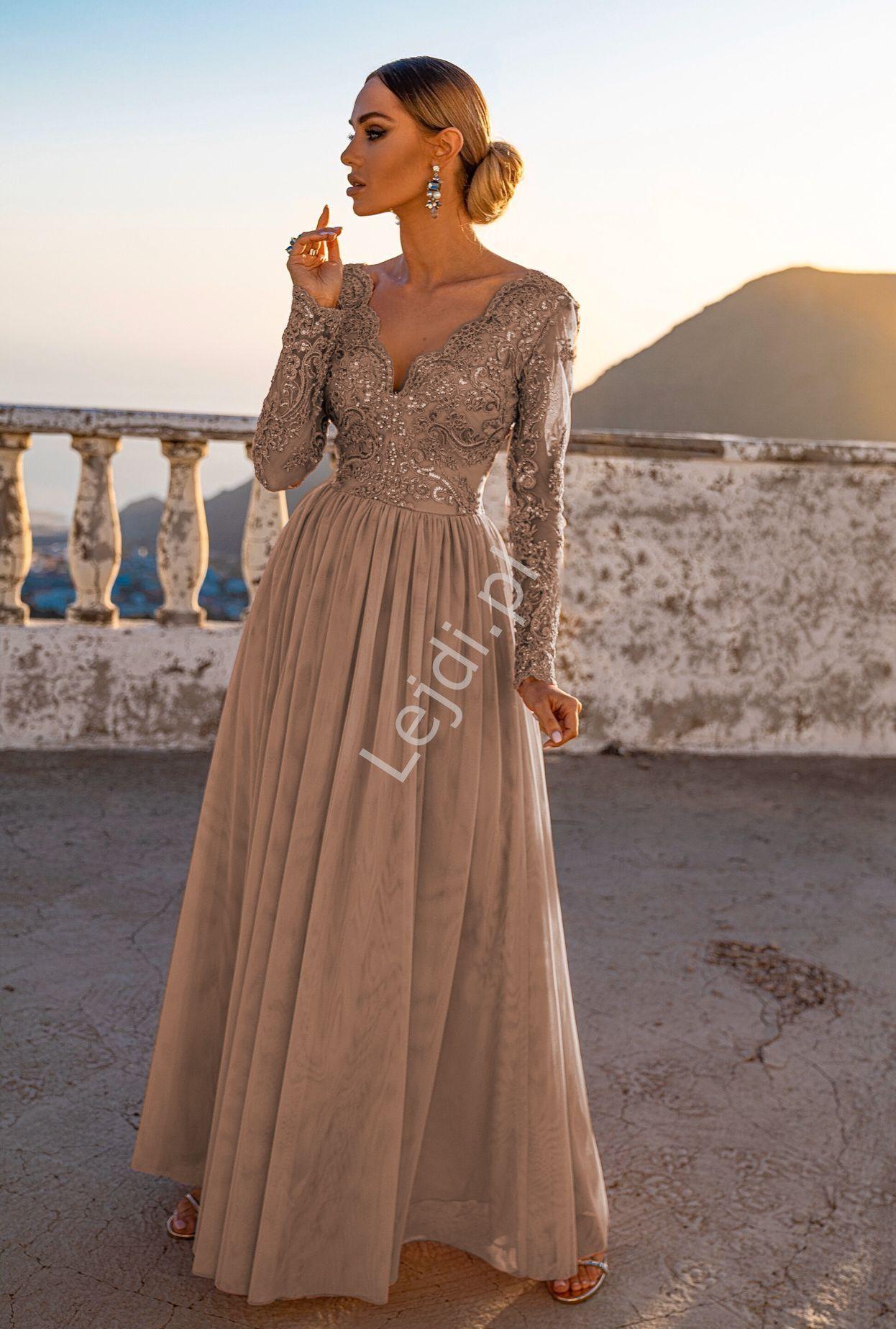 Dluga Tiulowa Sukienka Dla Druhny Na Studniowke Na Wesele Adel Kawa Z Mlekiem Outfits Fashion Dresses With Sleeves