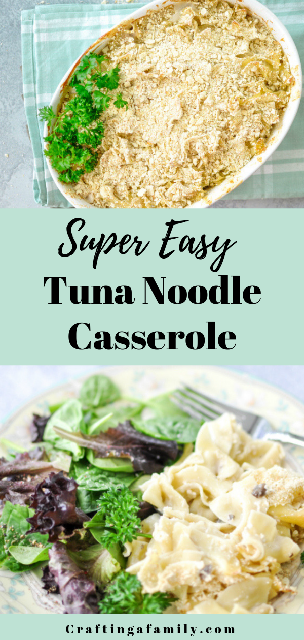 Quick Easy Classic Tuna Noodle Casserole 4 Ingredients To A Comfort Food Dinner The Whole Fam Dinner Recipes Easy Quick Tuna Noodle Casserole Noodle Casserole